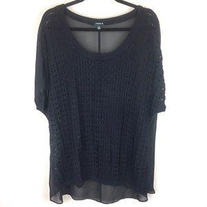 TORRID Black Knit/Sheer Top